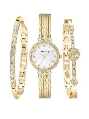 Anne Klein Goldtone And Swarovski Crystal Bracelet And Watch Three-piece Set