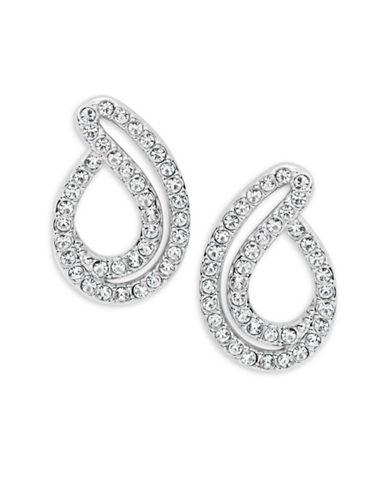 Nadri Silvertone Crystal Pave Small Teardrop Earrings