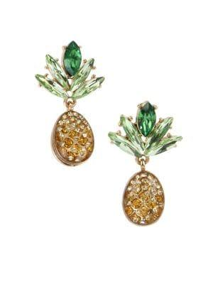 Betsey Johnson Pineapple Mismatch Drop Earrings