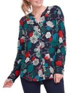 Olsen Allover Floral Splitneck Shirt