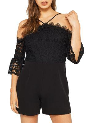Miss Selfridge Cold Shoulder Lace Rompers