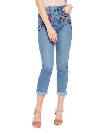 Miss Selfridge Embroidered Cropped Jeans