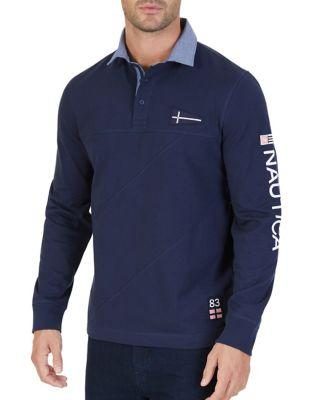Nautica Slim-fit Pieced Signature Long-sleeve Cotton Polo