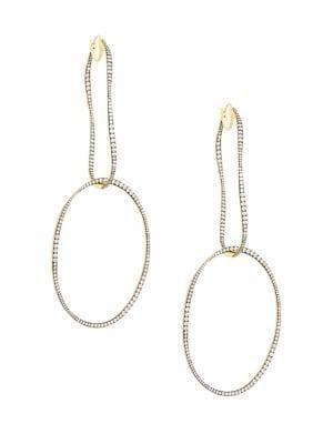 Nadri Goldtone & Crystal Orbital Hoop Earrings