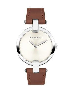 Coach Chrystie Stainless Steel And Leather-strap Watch