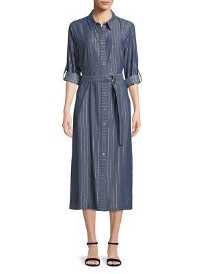 T Tahari Millie Striped Midi Shirtdress