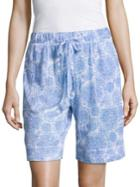 Nuit Rouge Textured Floral-print Shorts