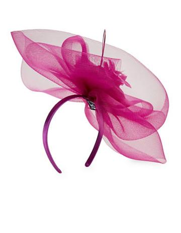 Giovannio Feather-trimmed Mesh Fascinator Headband