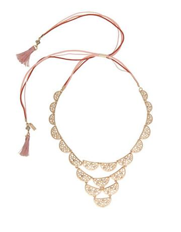 Kensie Lace? Tassel-accented Scalloped Bib Necklace