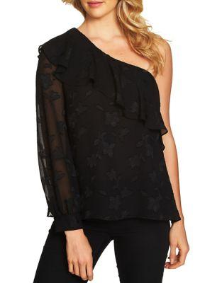 Cece One-shoulder Ruffled Textured Blouse