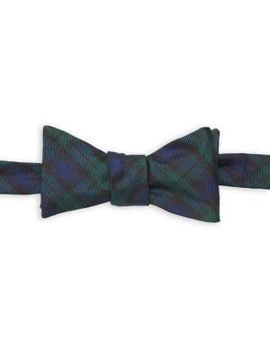 Brooks Brothers Red Fleece Textured Tartan Silk Bow Tie
