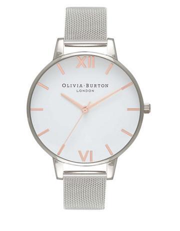 Olivia Burton White Dial Mesh Stainless Steel & Mesh-strap Watch