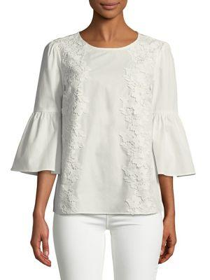 Ivanka Trump Lace Embroidered Bell-sleeve Top