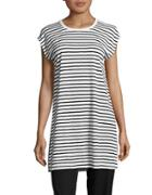 Eileen Fisher Striped Cap-sleeve Organic Linen Tunic