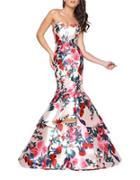Mac Duggal Floral-print Mermaid Gown