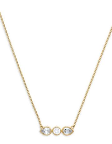 Cole Haan 1/25 Starry Skies Gold Tone Cubic Zirconia Brass Bar Pendant Necklace