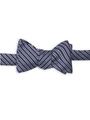 Brooks Brothers Red Fleece Textured Stripe Silk Bow Tie