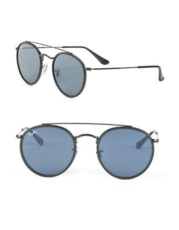 Ray-ban Rb3647n51 Aviator Round Metal Sunglasses