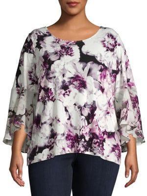 Calvin Klein Plus Plus Plus Floral Chiffon Flutter Top