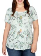 Lucky Brand Plus Printed Roundneck Top