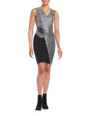 Dknyc Faux Leather-accented Shimmer Dress