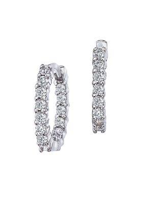 Roberto Coin Diamond & 18k White Gold Hoop Earrings/0.5