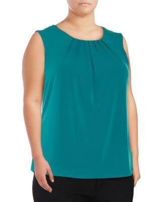 Calvin Klein Plus Pleated Sleeveless Top