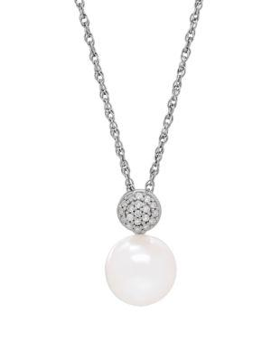 Lord & Taylor Pearl, Diamond & Silver Pendant Necklace