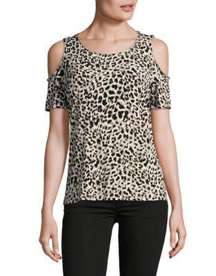 Michael Michael Kors Graphic Leopard Cold Shoulder Top