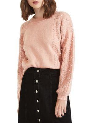 Miss Selfridge Faux-pearl Puff Sleeve Sweater