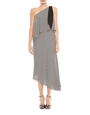 Halston Heritage Mini Stripe Flowy Dress