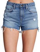 Unpublished Stella In Relic High-waist Mid-wash Denim Shorts