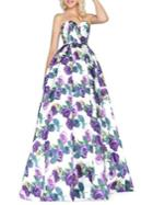 Mac Duggal Floral Sweetheart Ball Gown