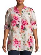 Calvin Klein Plus Floral Roll-sleeve Blouse