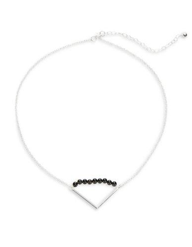 Lord & Taylor Onyx Beaded Triangle Pendant Necklace