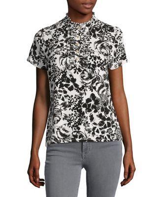 Karl Lagerfeld Paris Floral Print Stand Collar Top