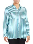 Melissa Mccarthy Seven7 Striped Long-sleeve Blouse