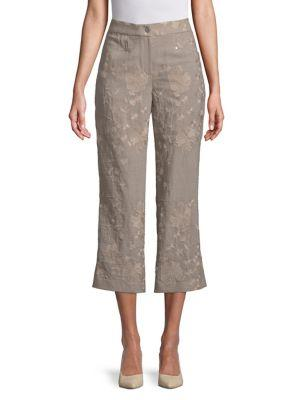 T Tahari Floral Embroidered Cropped Pants