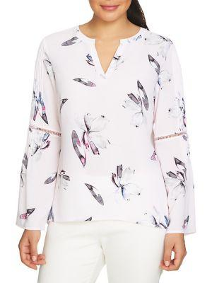 Chaus Pleated Bell-sleeve Blouse