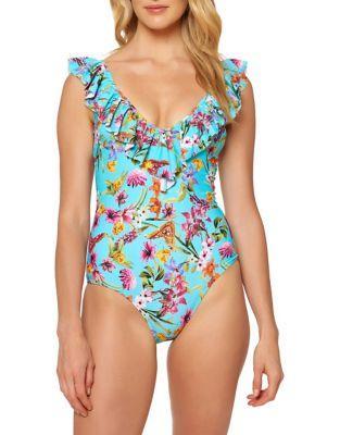 Jessica Simpson One-piece Ruffle Swimsuit