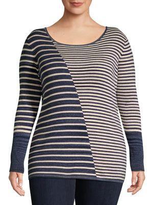 Nic+zoe Plus Plus Plus Serene Striped Knit Top