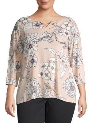 Calvin Klein Plus Plus Plus Floral Three-quarter Sleeve Top