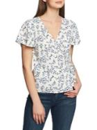 1.state Floral-print Wrap Top