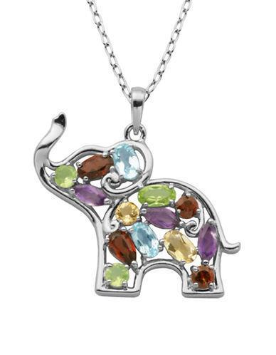 Lord & Taylor Multi-stone Elephant Pendant Necklace