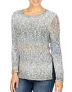 Lucky Brand Ombre Patterned Long Sleeve Pullover