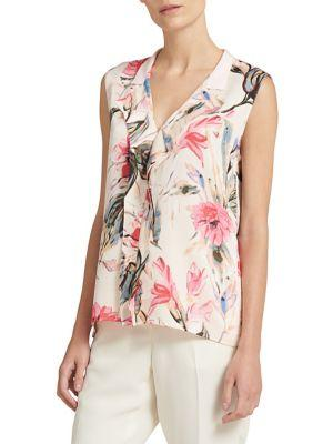 Donna Karan Sleeveless Split Neck Satin Top