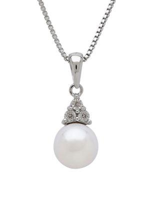Lord & Taylor Pearl, Diamond & Sterling Silver Pendant Necklace