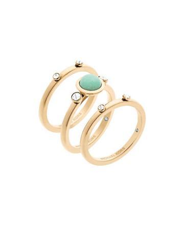 Michael Kors Easy Opulence Blue Jade Stack Ring - Set Of 3