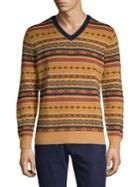 Brooks Brothers Red Fleece Fairisle V-neck Sweater
