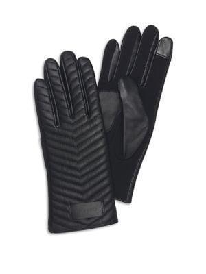 Calvin Klein 2-pair Touch Screen Chevron Leather Woven Gloves